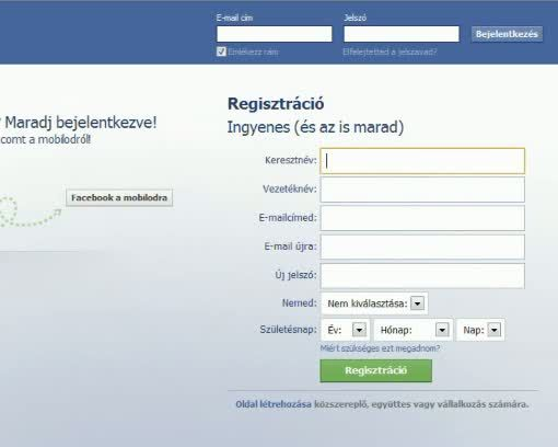 Belépés Facebook